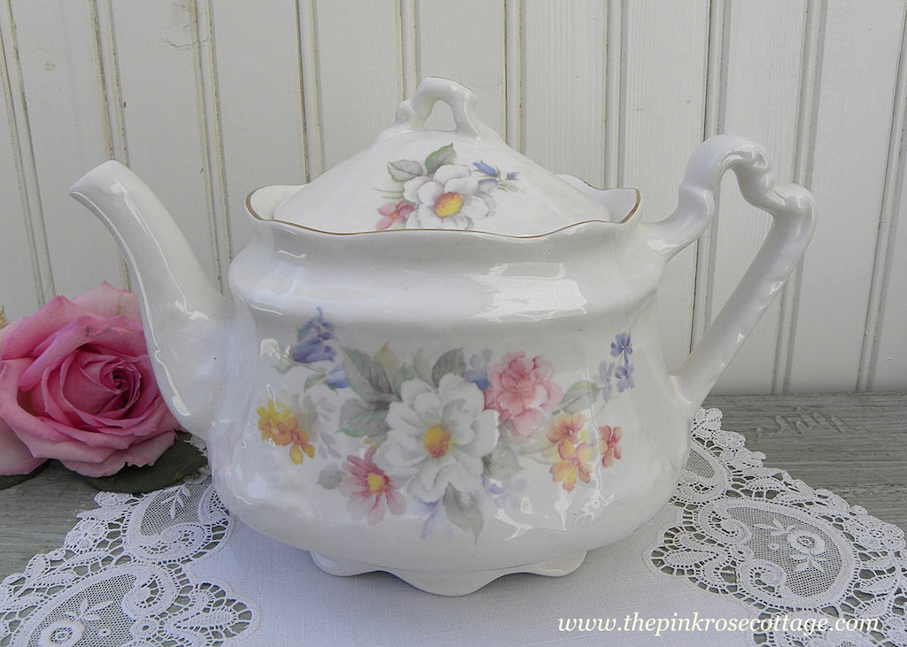 Vintage Arthur Wood & Son Teapot with Pastel English Roses and Wildflowers