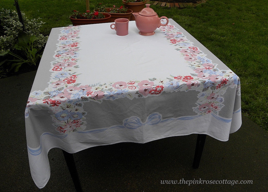 Vintage Tablecloth with Flower Garlands and Blue Ribbons and Bows - The Pink Rose Cottage