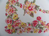Vintage Pink and Yellow Hibiscus and Pansy Tablecloth