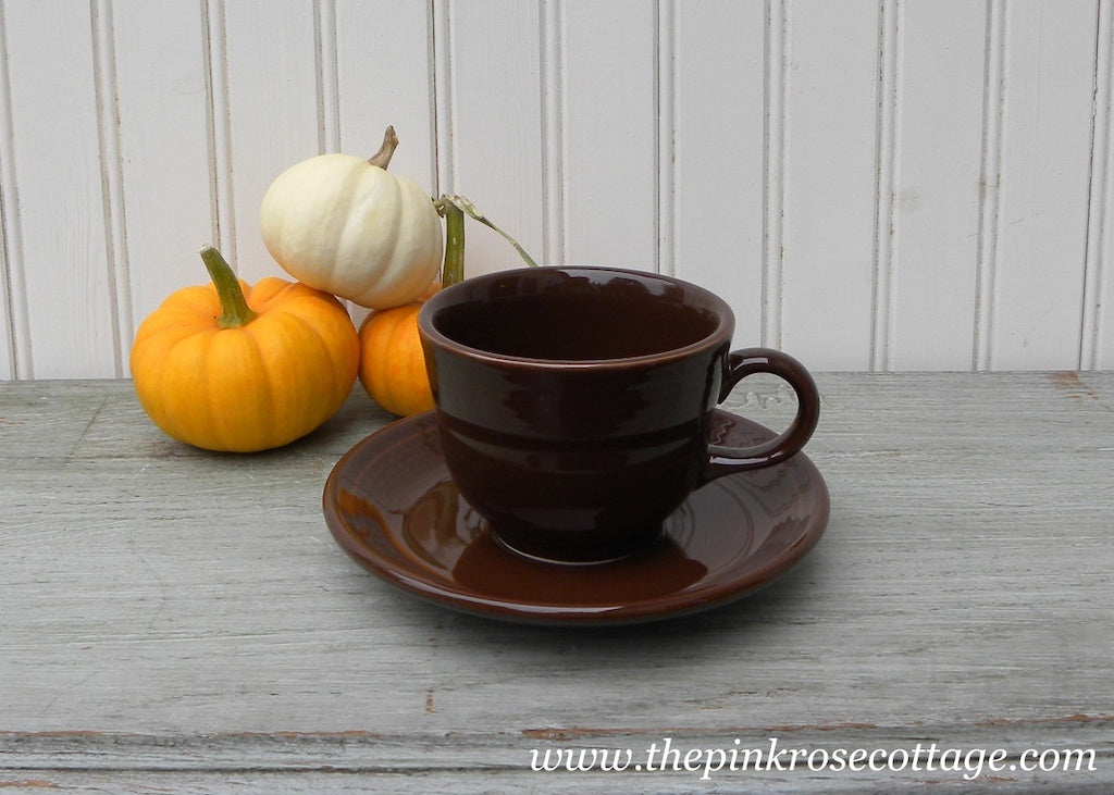 Fiesta Fiestaware Teacup and Saucer Chocolate Brown