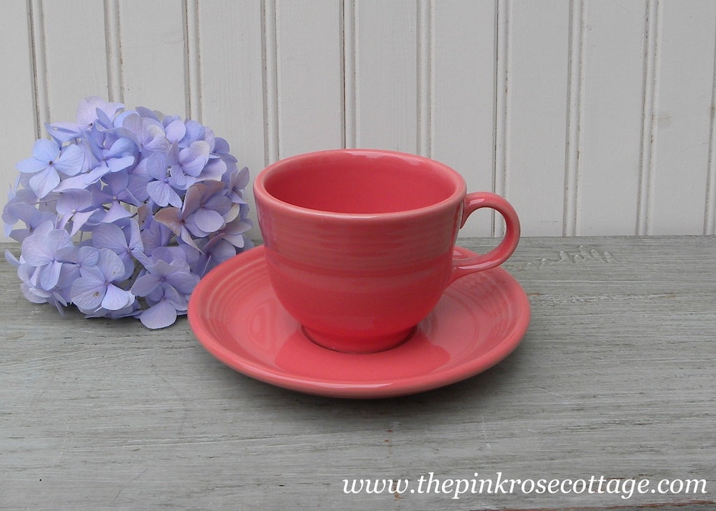 Fiesta Fiestaware Teacup and Saucer Pink Flamingo