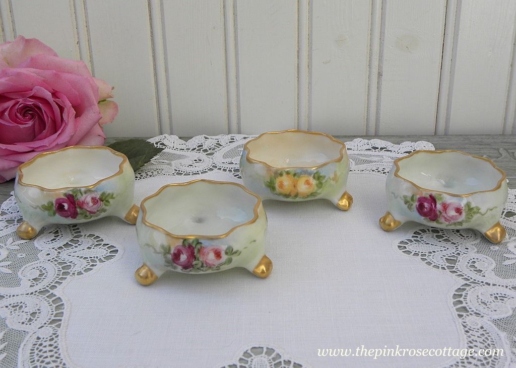 Set of 4 Antique Belleck Hand Painted Pink and Yellow Rose Salt Cellars Dips - The Pink Rose Cottage