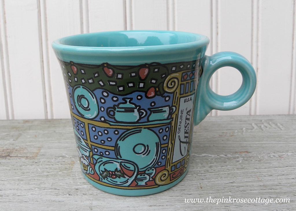 Homer Laughlin Fiesta Fiestaware Christmas Window Pane Mug Turquoise