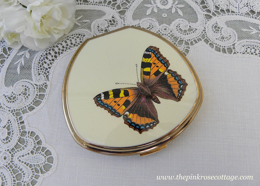 Vintage Stratton Butterfly Ladies Powder Compact in Original Box