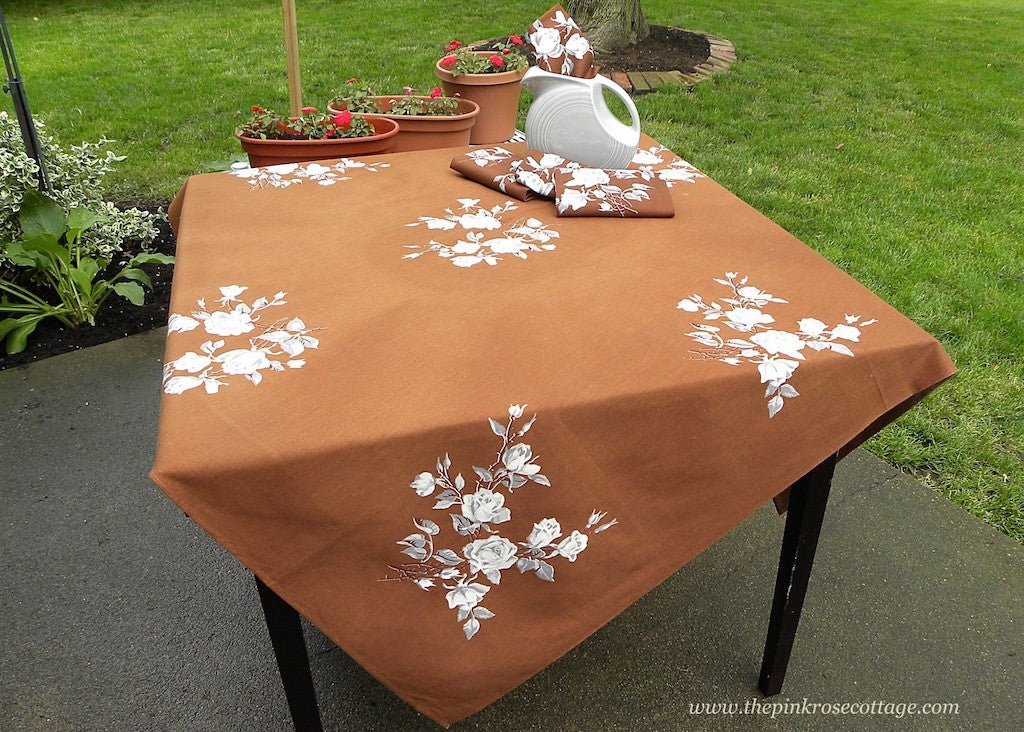 Rare Vintage Wilendur Victoria Rose Brown Tablecloth & Napkins - The Pink Rose Cottage