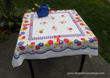 Vintage Whimsical Tablecloth with Polka Dot Flowers Fruits and Ribbons