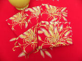Vintage Wilendur Sheafs of Wheat on Red Tablecloth & Napkins - The Pink Rose Cottage