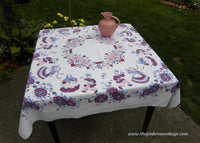 Vintage Broderie Whimsical Tablecloth Russian Kids And Flowers