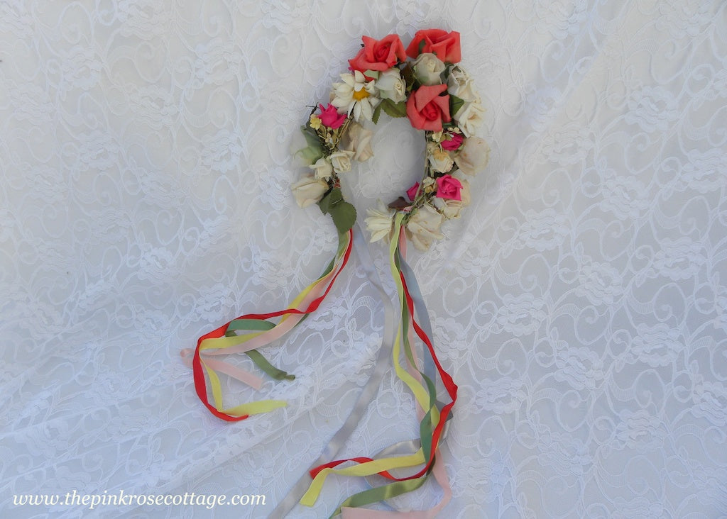 Vintage Millinery Roses Wreath May Day Bridal Flower Girl Head Piece with Ribbons