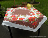 Vintage Tagged Startex Poppies and Daisies Tablecloth