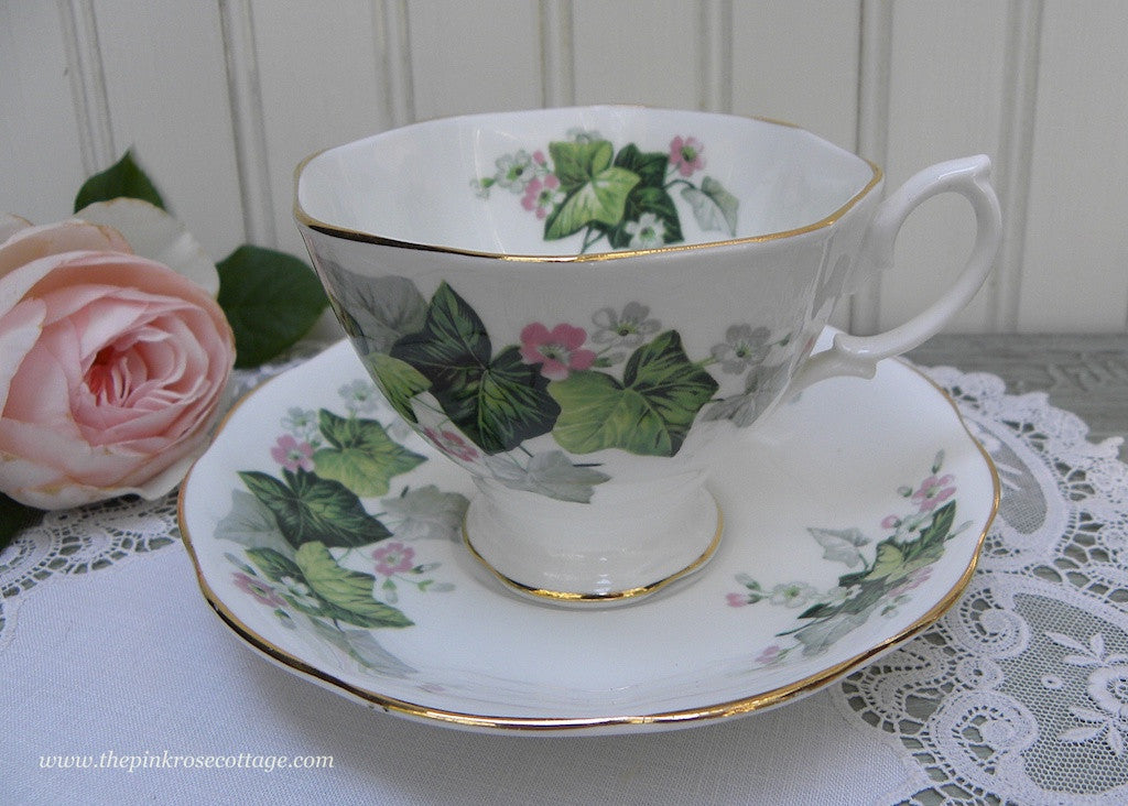 Vintage Royal Albert Petite Pink Flowers and Ivy Teacup and Saucer