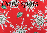 Vintage Christmas Tablecloth with Snowflakes and Holly