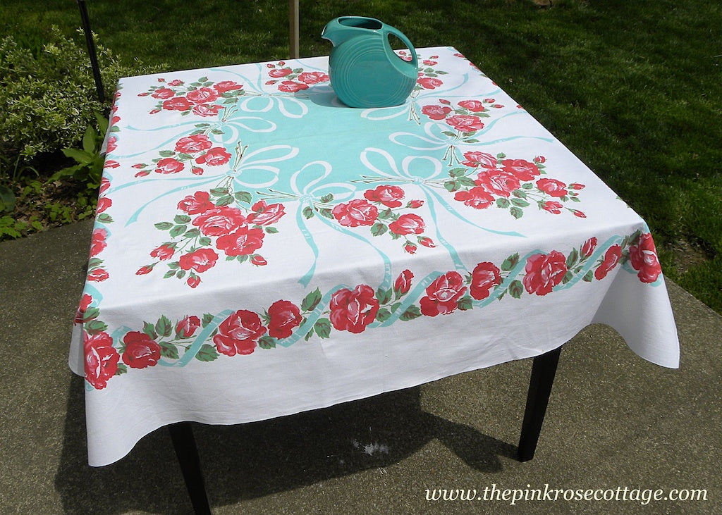Vintage Tablecloth with Pink and Red Roses and Teal Bows and Ribbons