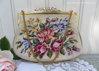 Vintage Austrian NBM Cross Stitched Needlepoint Petite Point Evening Handbag