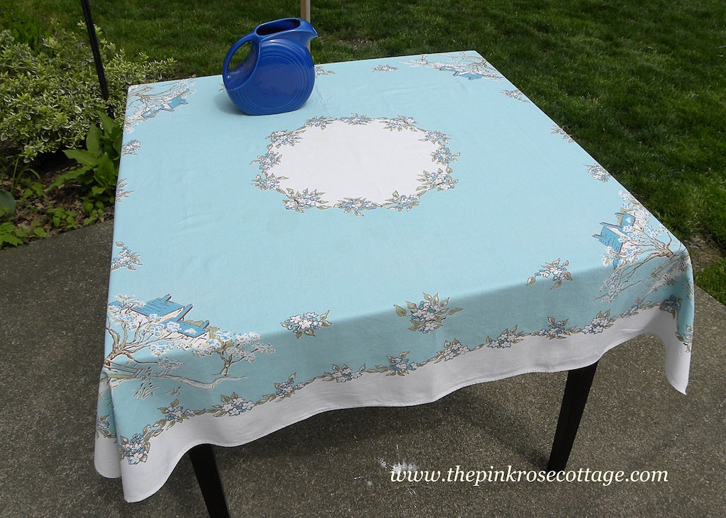Vintage Leacock Kate Greenaway Somerset English Cottage Teal Tablecloth