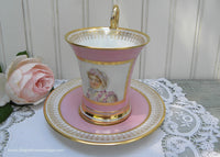 Antique M Imp le de Sevre Portrait of a Woman Pink Teacup and Saucer France - The Pink Rose Cottage