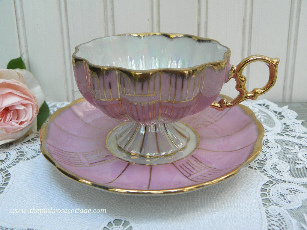 Vintage Mauve Pink Iridescent Pedestal Teacup and Saucer