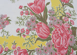 Pink Peonies Tulips Blossoms and Daisies with Yellow Vintage Tablecloth - The Pink Rose Cottage