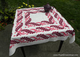 Maroon and Pink Fronds and Swirls Vintage Tablecloth