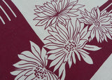 Art Deco Maroon and White Chrysanthemum Vintage Tablecloth