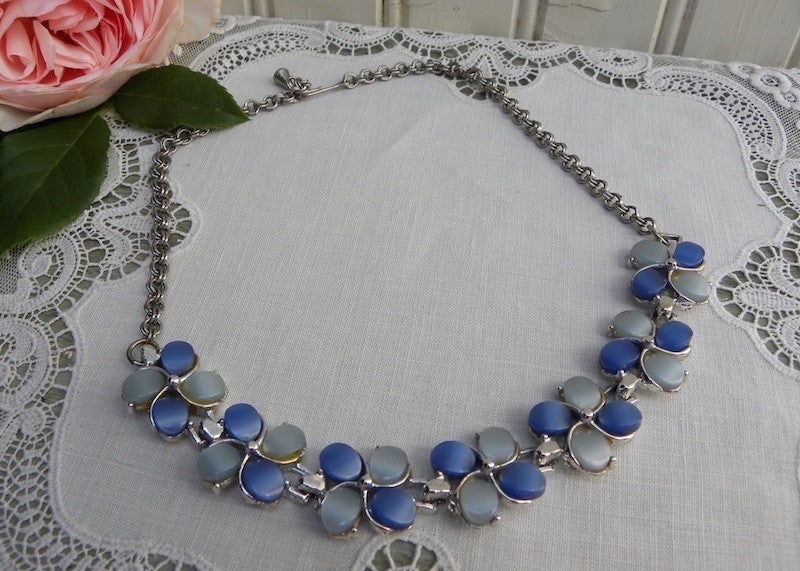 Vintage Light and Dark Blue Thermoset Flower Necklace