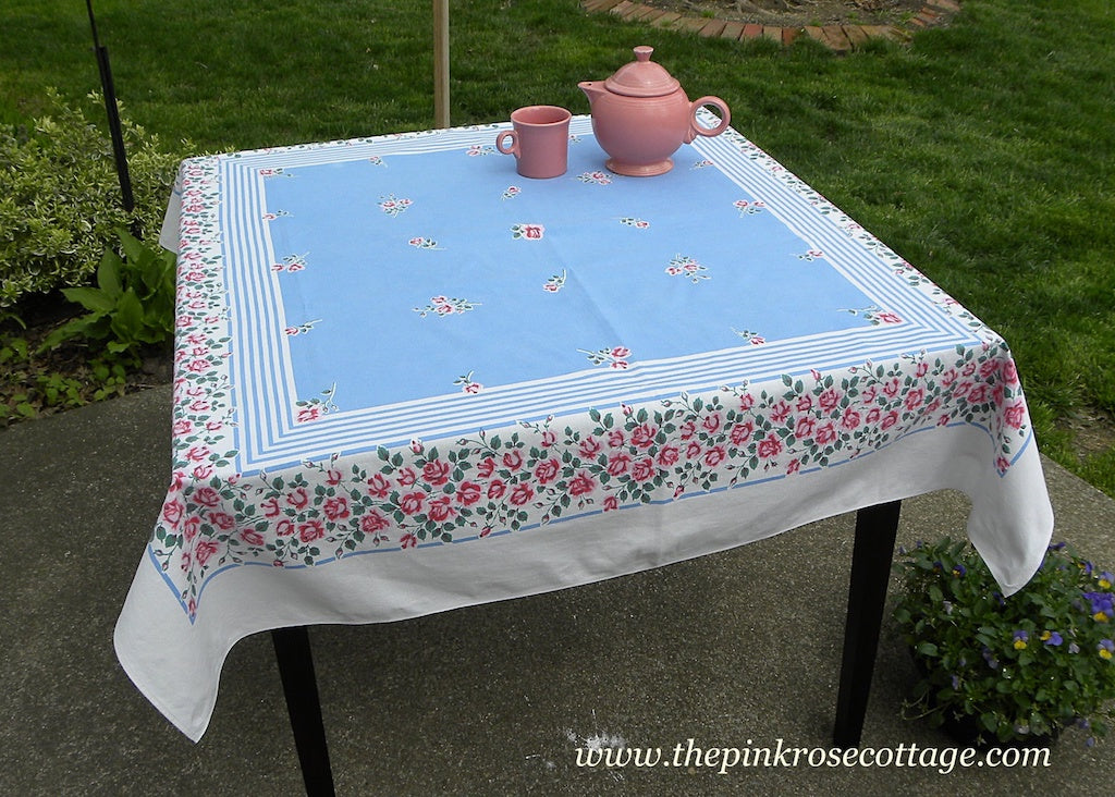 Vintage Pink Roses and Rosebuds and Blue Stripes Tablecloth