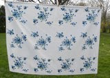Vintage Wilendur Wilendure Blue Princess Rose Tablecloth