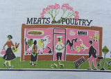 Vintage Figural Whimsical City Markets and People Tablecloth