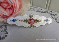 Vintage Guilloché Pink Rose and Blue Forget-Me-Not Hair Barrette