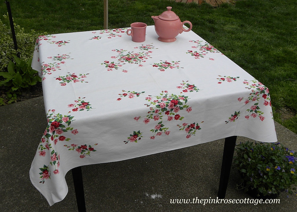 Vintage Wilendur  Pink Princess Rose Tablecloth
