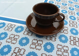 Vintage Mid Century Modern Blue Geometric and Daisy Tablecloth