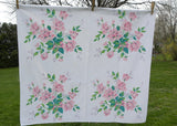 Vintage Wilendur Pink Royal Rose Tablecloth Table Topper