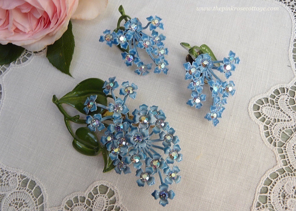Vintage Enameled and Rhinestone Blue Lilac Earrings and Brooch Set