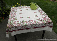 Vintage Nasturtium and Morning Glory Floral and Lattice Tablecloth