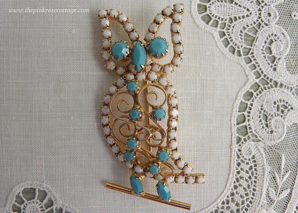 Vintage White and Turquoise Rhinestone Owl Pin Brooch