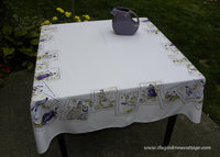 Unusual Vintage Tablecloth Antebellum Style Women Portraits