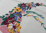 MWT Vintage E/S Aristocrat Pink Daisies Dahlias Floral Spray Tablecloth - The Pink Rose Cottage