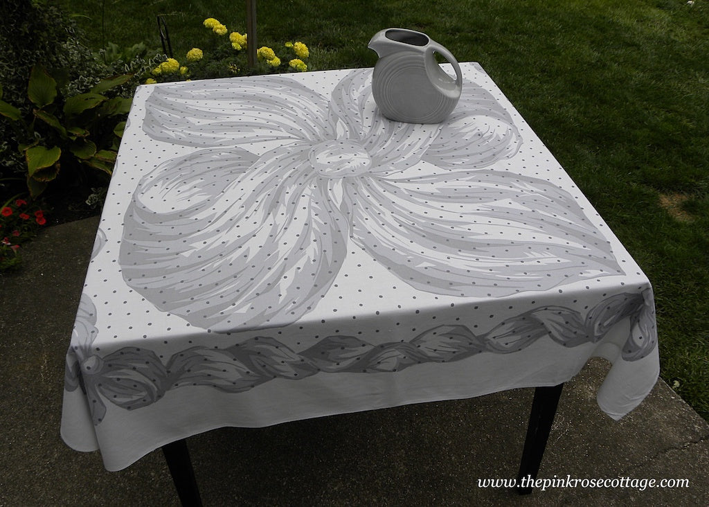 Unusual Vintage George of Paris Tablecloth Large Bow and Ribbon with Polka Dots