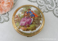 Unused Vintage Fragonard Limoges French Powder Compact with Courting Couple