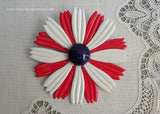 Vintage Red White Blue Patriotic Enameled Daisy Pin