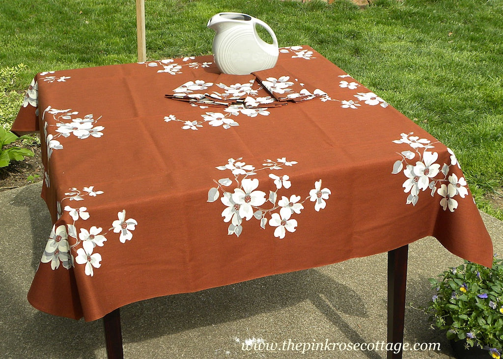 Unused Tagged Vintage Wilendur Dogwood Brown Tablecloth and Napkin Set - The Pink Rose Cottage
