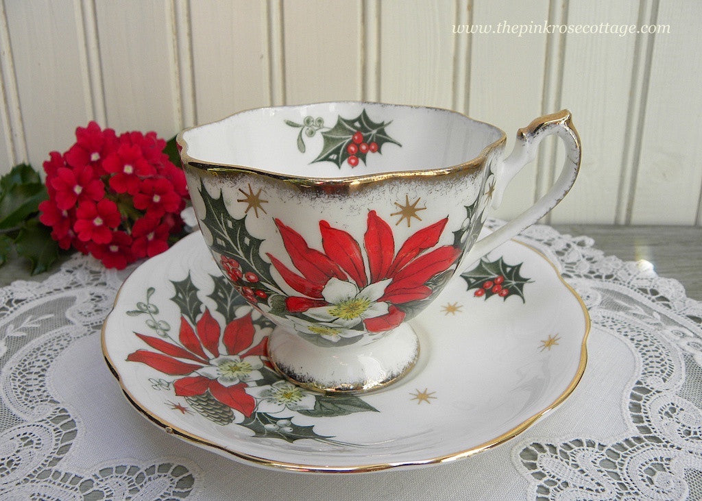 "Vintage Queen Anne Christmas Poinsettia ""Noel"" Teacup and Saucer"