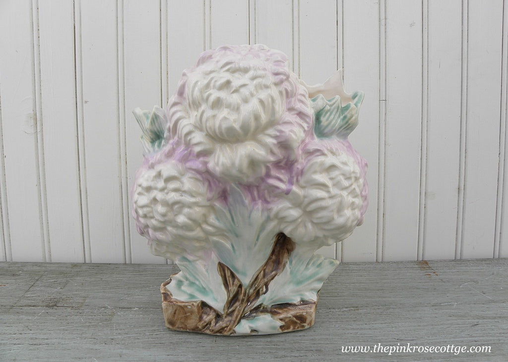 Vintage McCoy Pottery Purple and White Chrysanthemum Vase