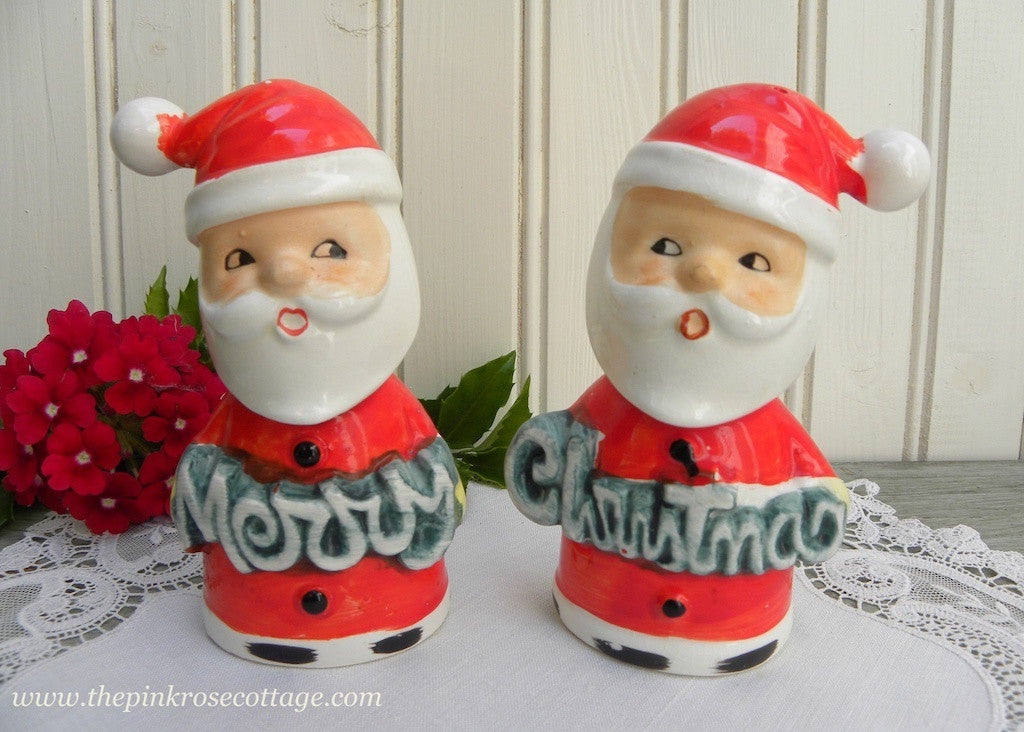 Vintage Merry Christmas Santa Claus Salt and Pepper Shakers