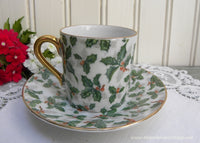 Vintage Christmas Holly Chintz Demitasse Teacup and Saucer