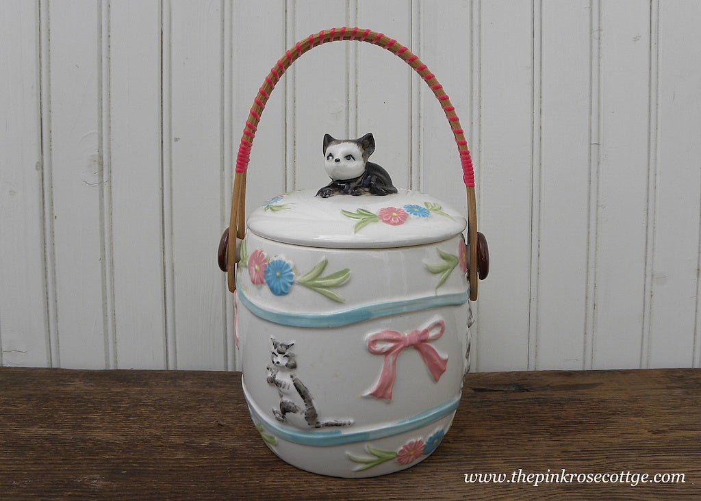 Vintage Biscuit Jar with Kitty Cats Flowers and Bows