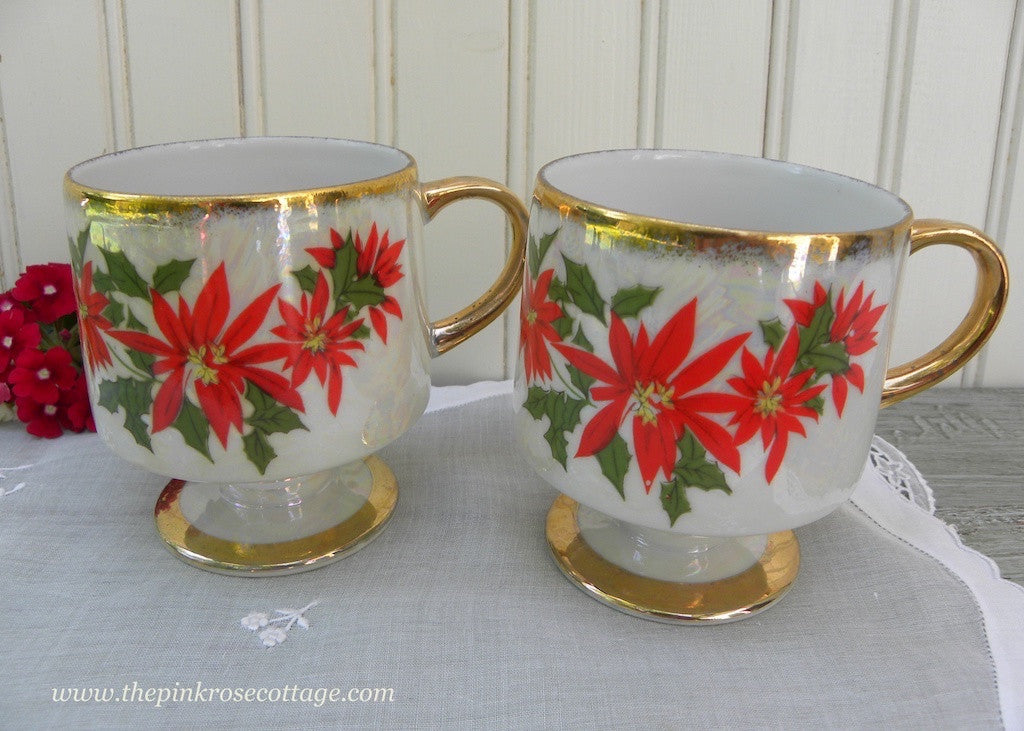Pair of Vintage Stackable Christmas Poinsettia Pedestal Mugs - The Pink Rose Cottage