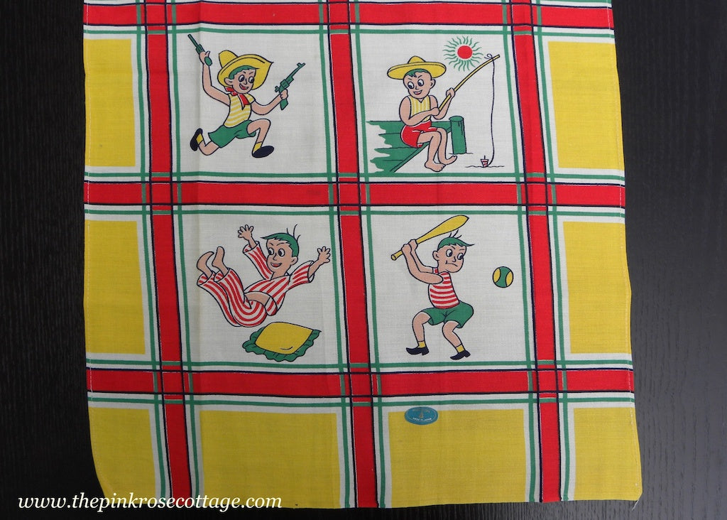 Vintage MWT Hadson Little Boy Summer Time Fun Tea Towel