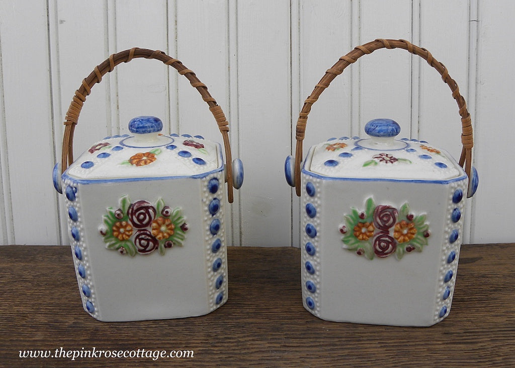 Pair of Vintage Cobalt Blue and White Floral Biscuit Jars