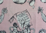 Vintage Pink and Black Tea Towel Salad French Dressing Cruets